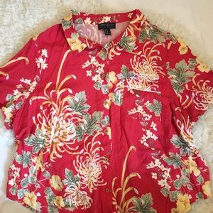 Plus Size Hawaiian Print Cropped Button Up